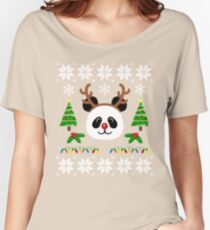 Christmas Panda Antlers  Women's Relaxed Fit T-Shirt