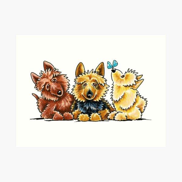 3 Australian Terriers Art Print
