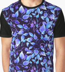 Blue mistic leaf watercolor Graphic T-Shirt
