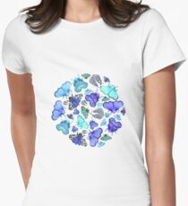 Blue Moths and Butterflies Women's Fitted T-Shirt