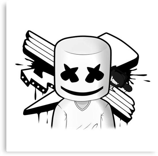 """""""Marshmello Black/White"""" Canvas Prints By Marshmellofans"""