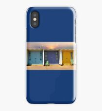 colourful and bright row of beach huts  bournemouth dorset uk  iPhone Case/Skin
