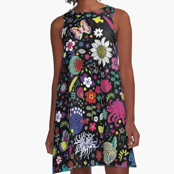 Japanese Garden - Multicolored on Black - exotic floral pattern by a Cecca Designs A-Line Dress