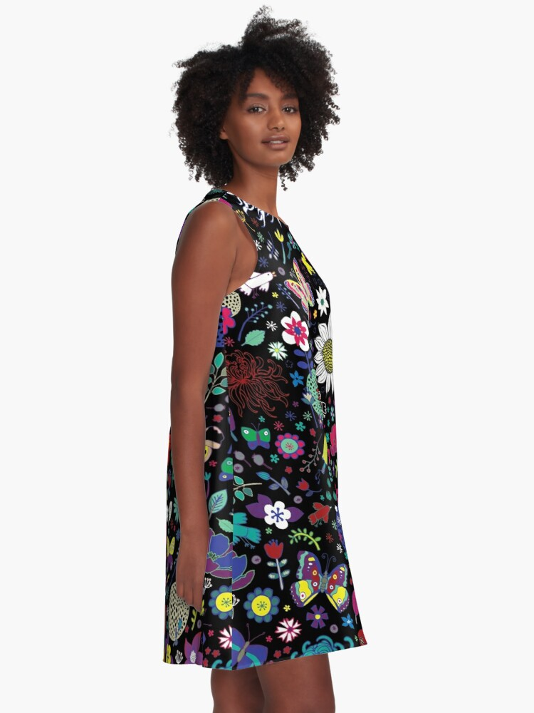 Alternate view of Japanese Garden - Multicolored on Black - exotic floral pattern by a Cecca Designs A-Line Dress