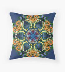 Mandala Paisley - Blue and Gold lotus Throw Pillow