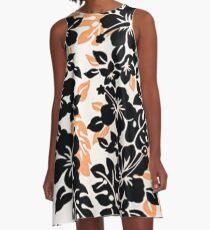 Black and Orange Hawaiian A-Line Dress