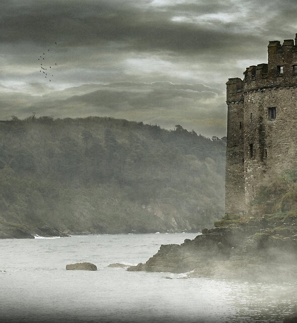 DARTMOUTH CASTLE IN MORNING MIST by Michael Carter