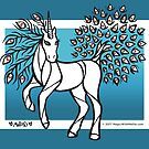 Peacock Blue Uniquorn - #inktober 2017 unicorn illustration by mellierosetest