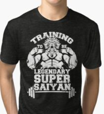 training to be legendary super saiyan gym workout Tri-blend T-Shirt