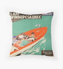 Vintage poster - Lake Winnipesaukee Throw Pillow