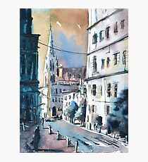 Imagined cityscape scene painted in watercolor by Raleigh, NC artist Ryan Fox Photographic Print