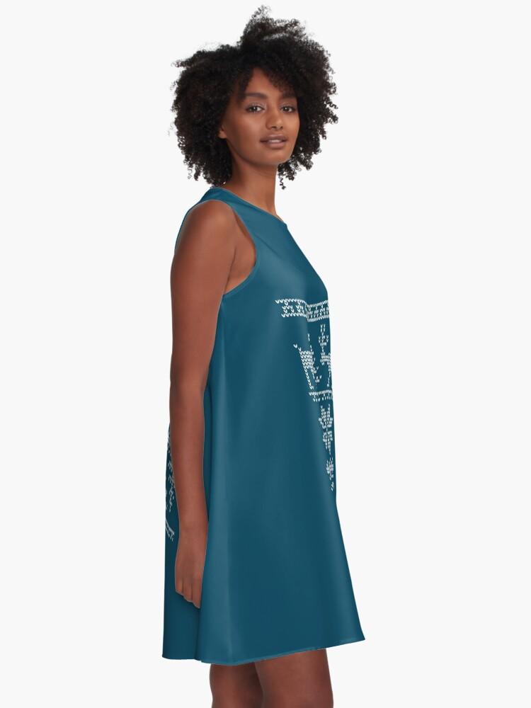 Alternative Ansicht von nordisches Strickmuster A-Linien Kleid