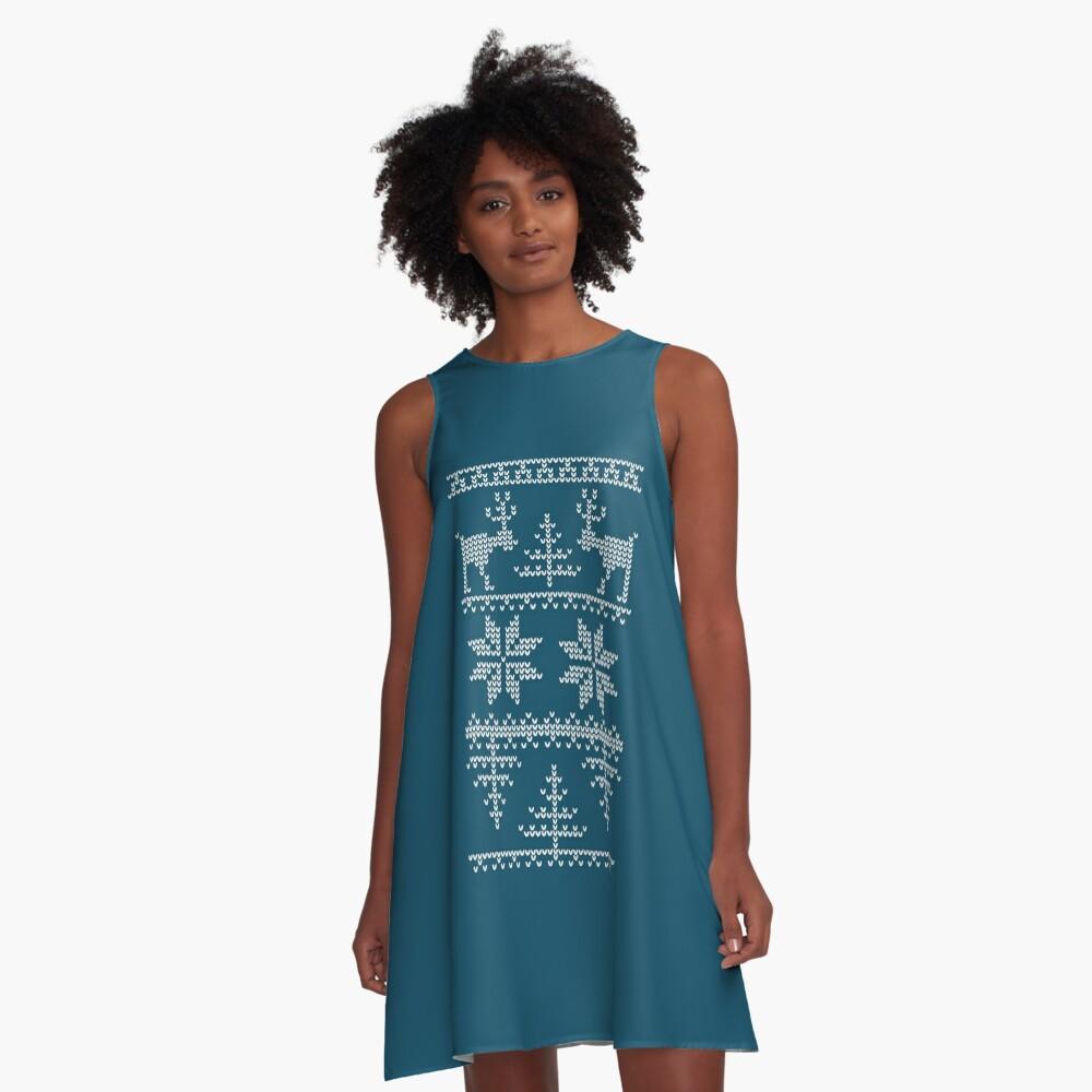 nordisches Strickmuster A-Linien Kleid