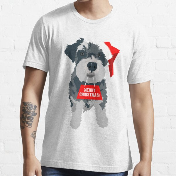 Christmas Miniature Schnauzer Santa Hat Essential T-Shirt