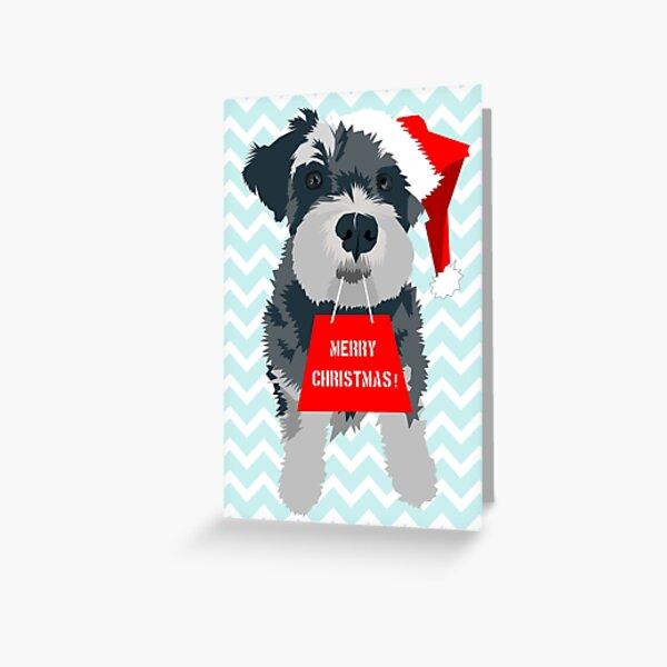 Christmas Miniature Schnauzer Santa Hat Greeting Card