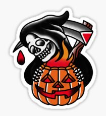 Traditioneller Sensenmann mit Pumpking Tattoo-Stück Sticker