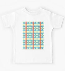 blue and cream blocks with red stripes Kids Tee