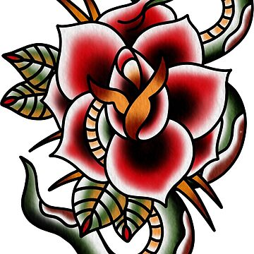 Traditional Snake and Flower Piece by radquoteshirts