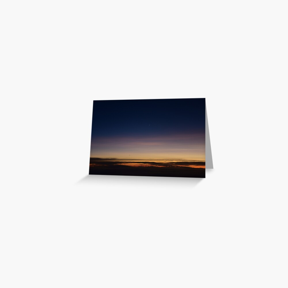 Moon rising above the clouds; sunset above clouds; sunset; moon Greeting Card