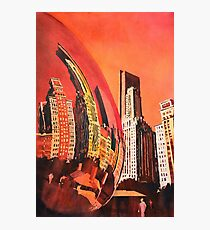 Watercolor painting of Chicago skyline at Millenium Park Photographic Print