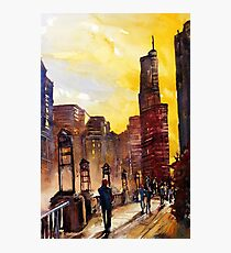 Chicago, IL watercolor painting Photographic Print