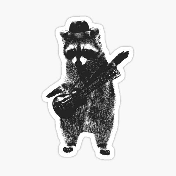 Raccoon wielding ukulele Sticker