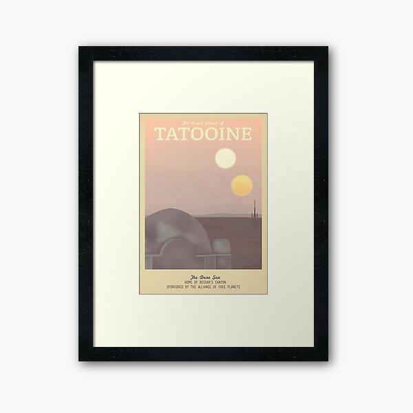 Cartel de viaje retro de Tatooine Lámina enmarcada