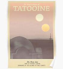 Tatooine Retro Travel Poster Poster