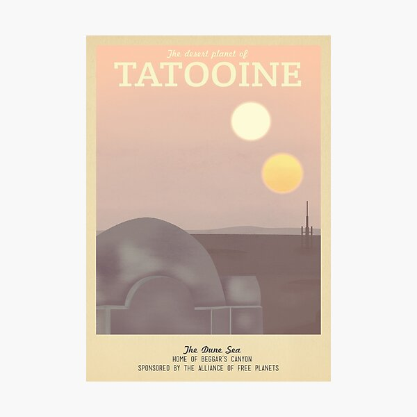 Tatooine Retro Travel Poster Photographic Print