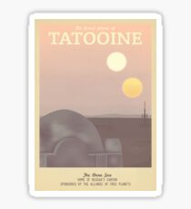 Tatooine Retro Travel Poster Sticker