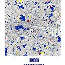 London Piet Mondrian Style City Street Map Art by MotionAge Media