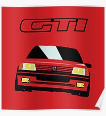 Red Peugeot 205 GTI Poster
