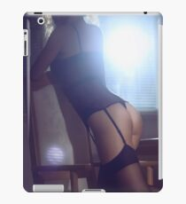 Sexy young woman in corset and stockings leaning on a chair by the window art photo print iPad Case/Skin