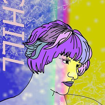 chill galaxy rainbow girl by lucillelilips