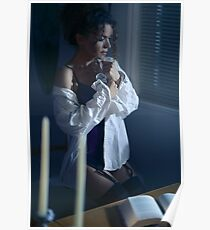 Sensual portrait of a woman in mens shirt and sexy corset sitting by the window with thoughtful expression art photo print Poster