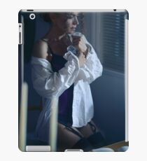 Sensual portrait of a woman in mens shirt and sexy corset sitting by the window with thoughtful expression art photo print iPad Case/Skin