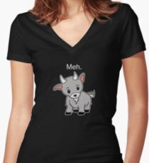 Meh. - Goat of indifference  Women's Fitted V-Neck T-Shirt