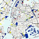 Map of New York in the style of Piet Mondrian by MotionAge Media