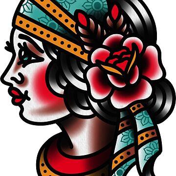 Traditional Gypsy Tattoo Piece by radquoteshirts