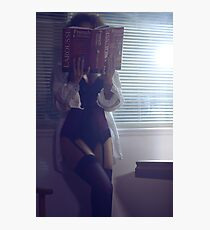 Sensual concept of sexy woman in corset and stockings reading French dictionary at night art photo print Photographic Print