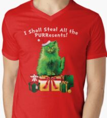 Steal All The PURResents Green Grinch Cat Who Stole Christmas Holiday Funny T-Shirt