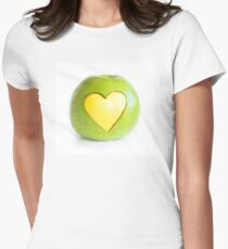 Single green apple with yellow heart on white background T-Shirt