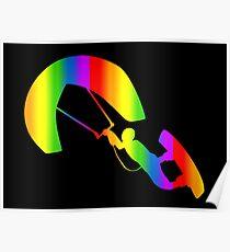 Colorful Kitesurfing Rainbow Sticker Poster