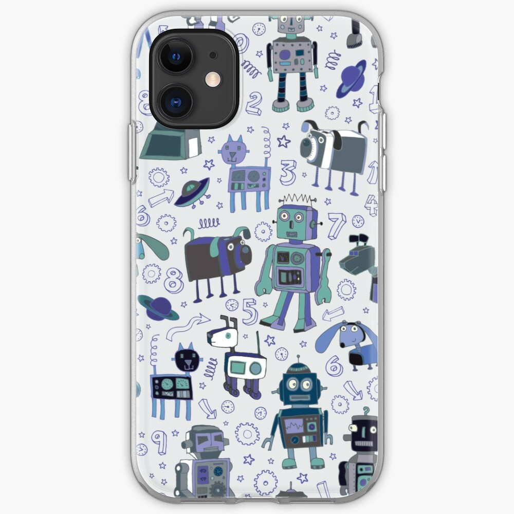 Robots in Space - blue and grey - fun pattern by a Cecca Designs iPhone Case & Cover