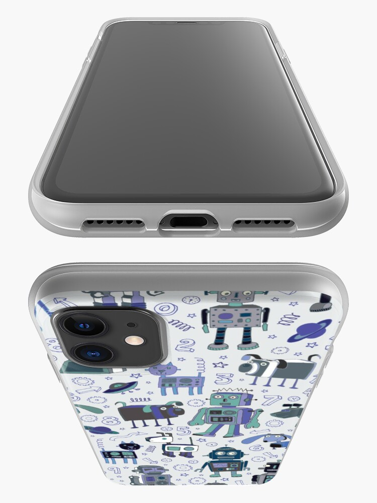 Alternate view of Robots in Space - blue and grey - fun pattern by a Cecca Designs iPhone Case & Cover