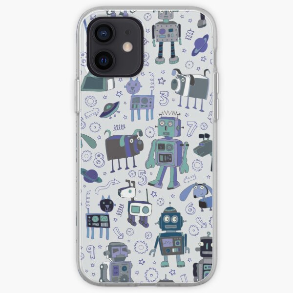 Robots in Space - blue and grey - fun pattern by a Cecca Designs iPhone Soft Case