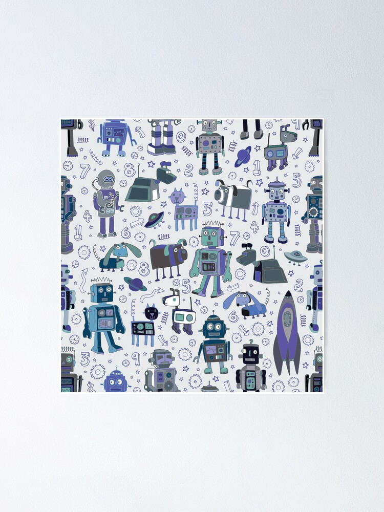 Alternate view of Robots in Space - blue and grey - fun pattern by a Cecca Designs Poster