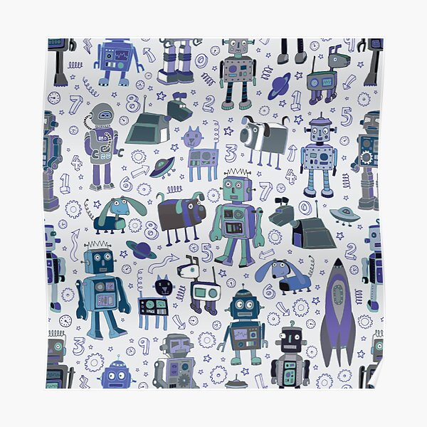 Robots in Space - blue and grey - fun pattern by a Cecca Designs Poster