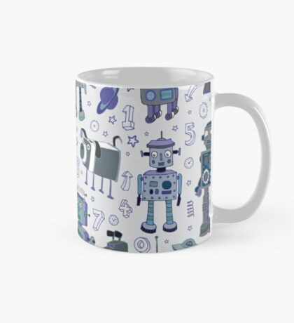 Robots in Space - blue and grey - fun pattern by a Cecca Designs Mug
