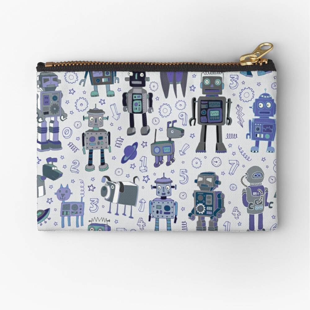 Robots in Space - blue and grey - fun pattern by a Cecca Designs Zipper Pouch